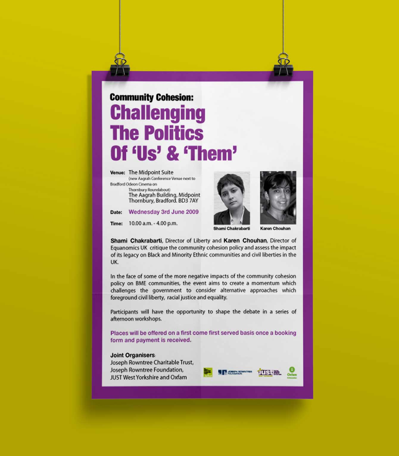 Challenging The Politics of Us & Them - poster-  JUST West Yorkshire