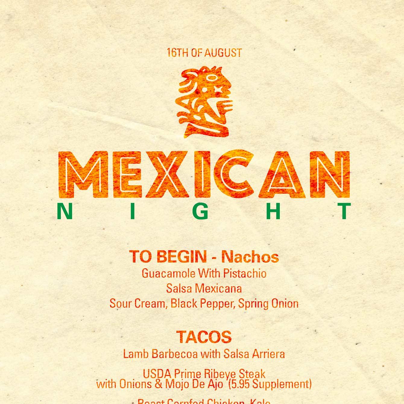 Cona Restaurant Mexican Menu - closeup